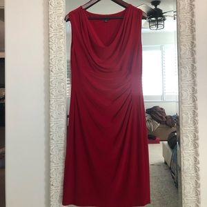 RALPH LAUREN Red Cowl Neck Sheath Dress 14